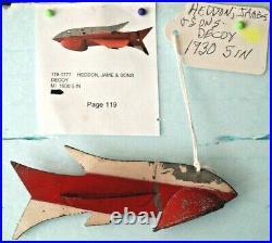 1930 5 James Heddon & Sons Metal Folk Art Fish Spearing Decoy Ice Fishing Lure