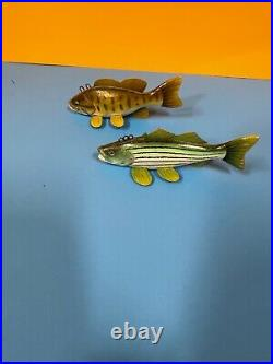 2 Great Folk Art Vintage Fish Carved Painted Wood Fishing Lure Decoy Rich Brooks