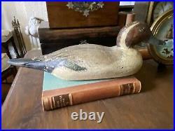 Antique Decoy Duck hand carved and painted. OLD With glass Eyes