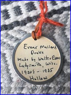 Antique Drake MALLARD Vtg EVANS Wood DUCK DECOY Glass Eyes