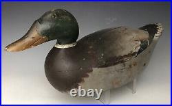 Antique Duck Decoy 16.5 Mason Premier Snake Head Mallard Drake, All Original