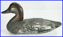 Antique Solid Body Wood Hand Carved Duck Decoy Glass Eyes