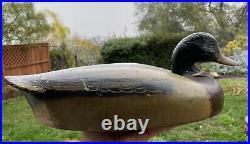 Antique Vintage Wood Duck Decoy Old Wooden Mallard Duck Collectible Folk Art