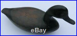Antique Wood Duck Decoy, Glass Eyes, Initials SGH