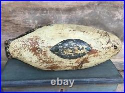 Antique vintage old wooden working Early Maine Goldeneye duck decoy