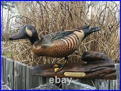 Bob Hayden Blue Wing Teal Wood Decoy Signed