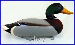Carved Wooden Painted Duck Bird Decoy Mallard Duck signed Charlie Joiner 1969