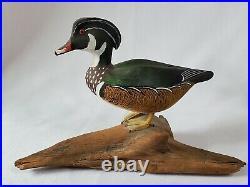 Curtis Waterfield (1926-2017) Miniature Wooden Duck Decoys Shoveler & Wood Duck