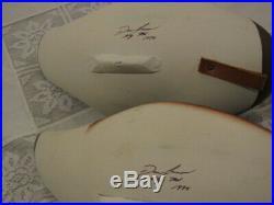 Dan Carson Pair Widgeon / Baldpate Duck Decoys signed Havre de Grace, MD. 1994