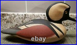 George Bell Hand Signed & Painted Hooded Merganser 12 Solid Wood Decoy MINT