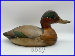 HAND CARVED TOM TABER WOOD DUCK DECOY SIGNED 14 x 7 GREEN WINGED TEAL