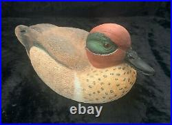 Hand Carved & Signed J. Kasprovich Wooden Duck Decoy Green Winged Teal 2009