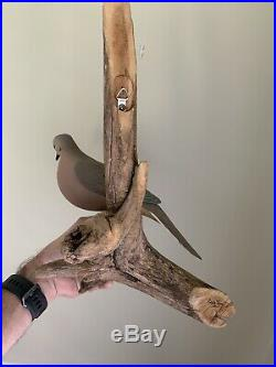 Large 2001 EDDIE WOZNY Carved Dove Decoy on Driftwood Wall Hanging Cambridge MD