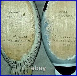 Male & Female Mallard Miniature Hand Carved Vintage Wooden Duck Decoys 1977