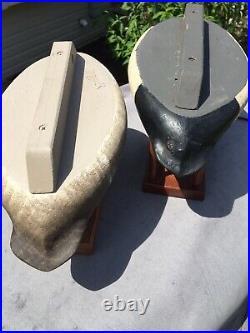 Marv Meyer Pair Of Bluebill Duck Decoys Vintage Hollow Exc Orig 8/92 Rig Mates