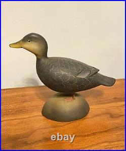 Miniature Black Duck Decoy. George Strunk (Glendora, New Jersey)