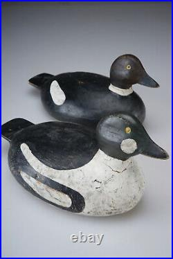 PAIR Vintage Hand Carved Nova Scotia Canada Whistler Drake Duck Decoy Lunenburg