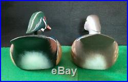 Pair Carved Hunting Wood Duck Decoys Limited Edition Signed Bill Schauber 61/75