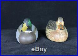 Pair Dan Brown Salisbury Carved and Painted 8.25 Duck Decoys Hen & Drake 1970