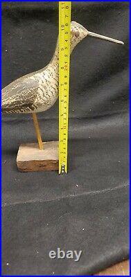RARE WEK WILL KIRKPATRICK HAND-CARVED WOODEN DECOY BIRD W WOOD BASE costal bird