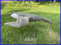 Rare Antique Vintage Wood & Canvas Flying Duck Decoy Glass Eyes Tuveson Mfg Co