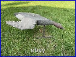 Rare Antique Vintage Wood & Canvas Flying Duck Decoy Tuveson Mfg Co with Tag