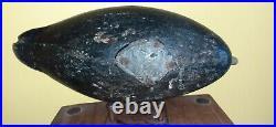 Rare Football Style Ira Hudson Black Duck Decoy Chincoteague Island VA MD Solid
