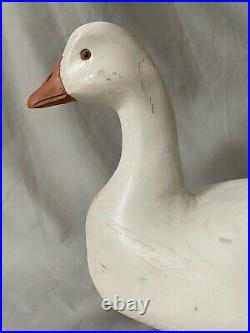Snow Goose Duck Decoy by Harry V. Shourds, Signed, Wood, Hollow, Weighted