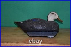 Very Nice Quality Done Vintage Black Duck Cork Wood Duck Decoy Ex+