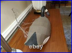 Vintage Artist Signed Wooden Canadian Goose Duck Decoy Wire Over Canvas Expert