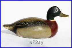 Vintage Carved Wood Mallard Duck Hunting Decoy Glass Eyes Illinois River Valley