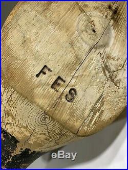 Vintage Frank Strey (FES) Carver Signed Solid Flat Bottom Glass Eye Wood Decoy