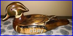 Vintage Hand Carved Duck Decoy Wood duck Drake EXCELLENT CONDITION