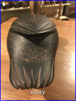 Vintage Old Unused Black Duck Decoy By Ed Coradetti Bristol Pa Orig Paint Hollow