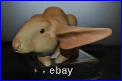 Vintage Signed LEO KOPPY Lying Bunny Rabbit Carved Wood Decoy Sculpture