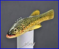 Vintage Sonny Bashore Brook Trout 7 1/4 Carved Fishing Fish Decoy Paulding OH