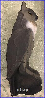 Vintage Victor Owl Decoy Paper Mache Used Hunting 1950s