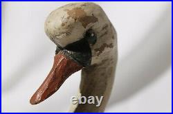 Vintage Wooden Swan Hand Carved Decoy Signed Initialed JP John Paxton