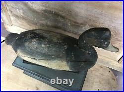 Vintage antique old wooden working Hudson Style Va. Bluebill duck decoy