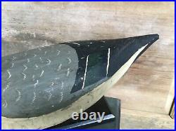 Vintage antique old wooden working Maryland Capt. John Smith Pintail duck decoy