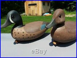 Vintage decoy pair George Strunk Blue Winged Teal Duck Decoys hand carved NJ