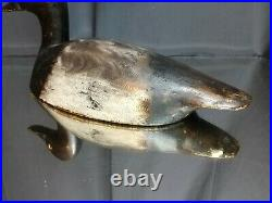 Vintage or Antique Wooden SCAUP Duck Decoy with Glass Eyes Carved Balsa Folk Art