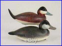 Wood Duck Decoy Pair Rick Brown Ruddy Ducks New Jersey Estate Goose Shorebird